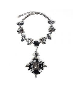 Luxury gemstone vintage necklace-Black