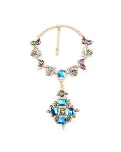 Luxury gemstone vintage necklace-Sky-blue