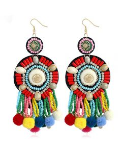 Bohemia folk style popular earrings, colorful beads, fringed Earrings