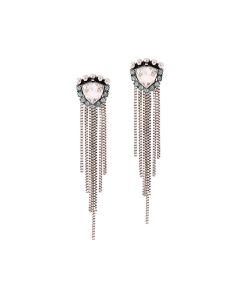 Vintage geometric crystal tassel earrings