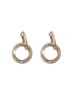 Diamond geometry circle earrings