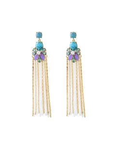 Crystal Flower Tassel Earrings