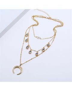 Multi-layer beaded clavicle necklace