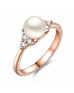 Simple fashion pearl diamond lady ring finger ring-Internal diameter:17.3mm