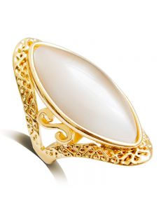 Oval hollow cat's eye stone S alloy single ring