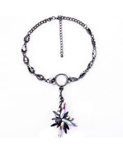 Gemstone Ice Crystal Pendant Necklace-Black