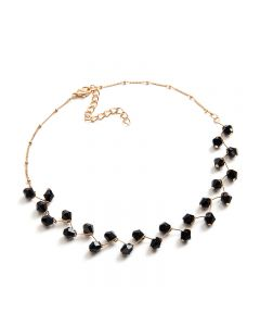 Short clavicle necklace-Black