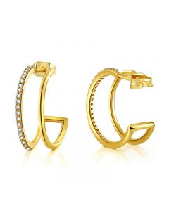New geometric diamond insert 18 K gold lady Earrings personalized fashion Zircon Earrings Earrings