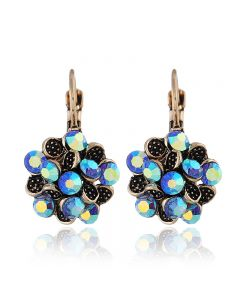 Bohemian retro leaves flowers round earrings