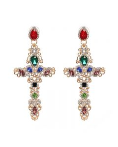 Cross Earrings high quality alloy drilling, creative hollow ear studs